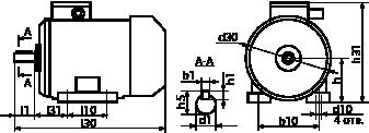 Габаритно-присоединительные размеры электродвигателя АИМУ 160 S6
